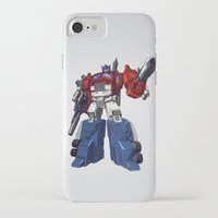 optimus prime iPhone & iPod Cases featuring Optimus by CromMorc