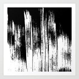 Modern black white watercolor brushstrokes pattern Art Print
