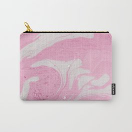 Soft Pink Marble with Cream Swirls Carry-All Pouch