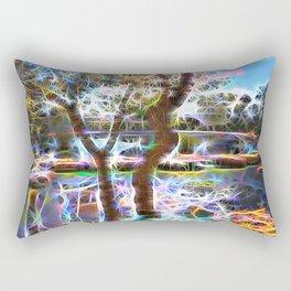 Trees Pond and Light Streams Rectangular Pillow