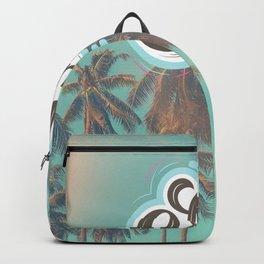 Hello Sunshine Beach Palm Trees Retro California Ocean Quote Print Backpack