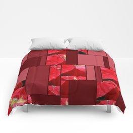 Mottled Red Poinsettia 2 Art Rectangles 8 Comforters