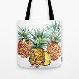 Pineapples, pineapple art design watercolor tropical HAwaiian kitchen art Tote Bag