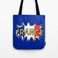 france Tote Bags featuring France by mailboxdisco