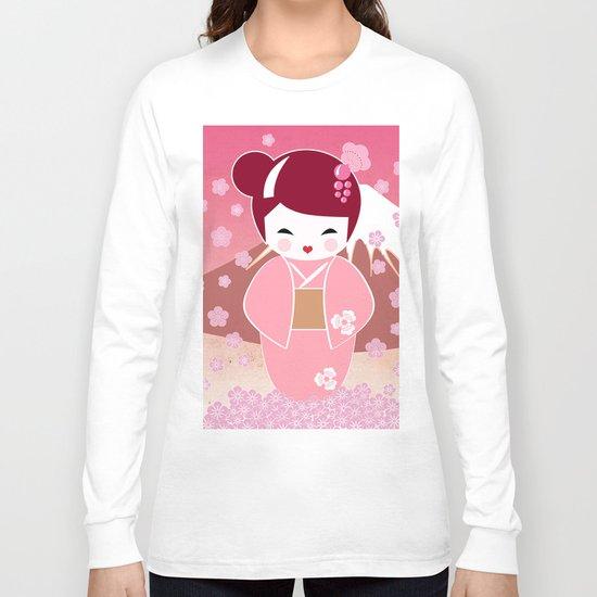 Sakura Japanese Doll Kokeshi Long Sleeve T-shirt