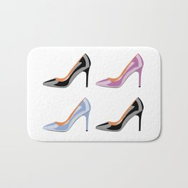 High heel shoes in black, serenity blue and bodacious pink Bath Mat