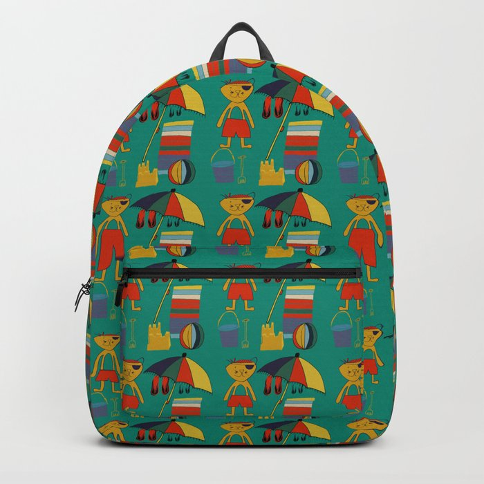 Cat pirate at the beach green Backpack