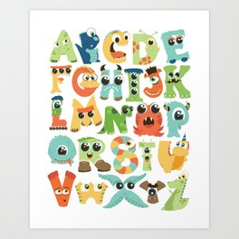 Cute monsters alphabet for boy's room monster alien critters illustrated characters Art Print