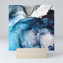 White Sand Blue Sea - Alcohol Ink Painting Mini Art Print