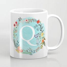 Personalized Monogram Initial Letter Q Blue Watercolor Flower Wreath Artwork Coffee Mug