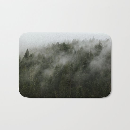 Pacific Northwest Foggy Forest Bath Mat
