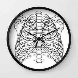 Ribs - outline black Wall Clock