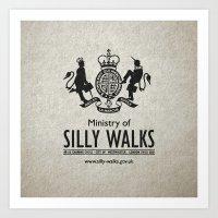 monty python Art Prints featuring MONTY PYTHON - Ministry of Silly Walks by La Cantina