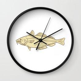 Atlantic Cod Fish Drawing Wall Clock