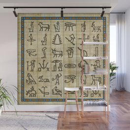 Ancient Egyptian Hieroglyphs on Papyrus Wall Mural