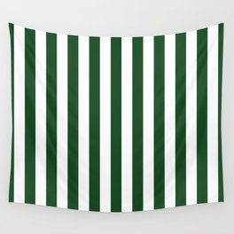 Large Forest Green and White Rustic Vertical Beach Stripes Wall Tapestry