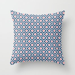 Navy Blue and Coral Diamond Ikat Pattern Throw Pillow