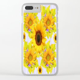 Golden Sunflower Pattern Floral Purple Shades Clear iPhone Case
