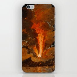 Mount Vesuvius erupting at night, billowing clouds and flashes of lightning iPhone Skin