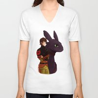 hiccup V-neck T-shirts featuring Hiccup and Toothless by tsunami-sand