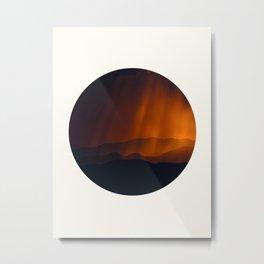 Mid Century Modern Round Circle Photo Minimal Silhouette Mountains With Sepia Umber Sky Metal Print