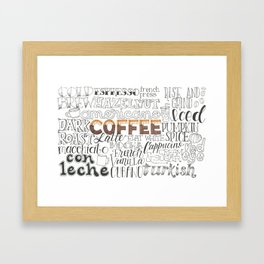 Coffee Typography Mashup Framed Art Print