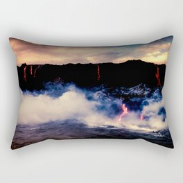 Lava Pouring off the Big Island Coast Rectangular Pillow