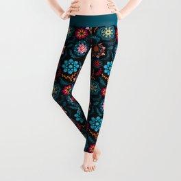 Suzani Inspired Pattern on Black Leggings