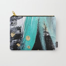 Fairy Dreams: an abstract mixed media piece in black, white, teal, and gold Carry-All Pouch