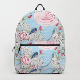 Bluebirds and Watercolor roses on pale blue with white French script Backpack