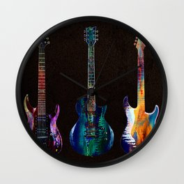 Sounds of music. Five colorful guitars. Wall Clock