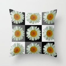 Three Pop Art Daisies Throw Pillow
