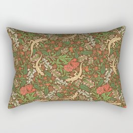 Beige lizard among pomegranate flowers and acacia false on brown background Rectangular Pillow