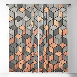 Concrete and Copper Cubes Blackout Curtain