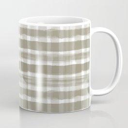 Watercolor Brushstroke Plaid Pattern Pantone Martini Olive Green 18-0625 Coffee Mug