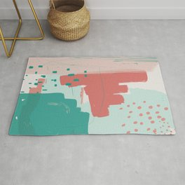 Mint Teal Blush Pumpkin Decorative Abstract painting -2, Colour Symphony abstraction, Rug