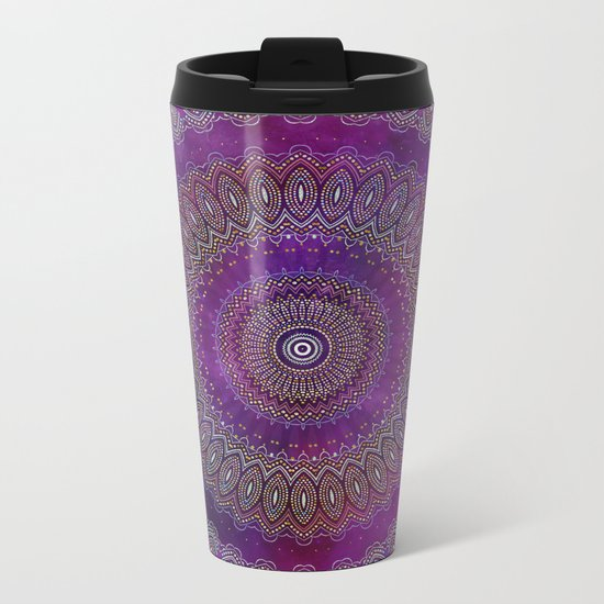 Precious Mandala in rich purple and pink tones Metal Travel Mug