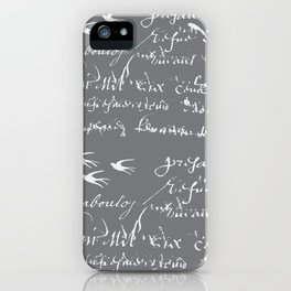French Script on Steel Gray iPhone Case