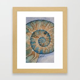Ammonite fossil watercolor painting Framed Art Print
