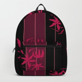 Striped floral maroon and black pattern with lillies Backpack