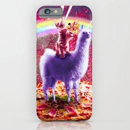 Laser Eyes Outer Space Cat Riding On Llama Unicorn iPhone Case