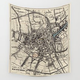 Vintage Map of Ravenna Italy (1943) Wall Tapestry