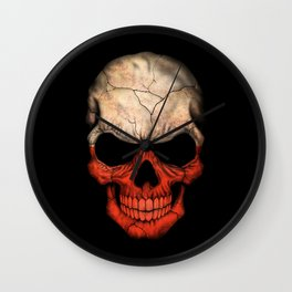 Dark Skull with Flag of Poland Wall Clock
