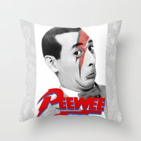 pee wee Throw Pillows featuring Pee wee by Iamzombieteeth Clothing