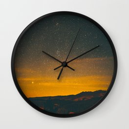 Vintage Sepia Sunset Night Sky Stars Mountain Landscape Wall Clock