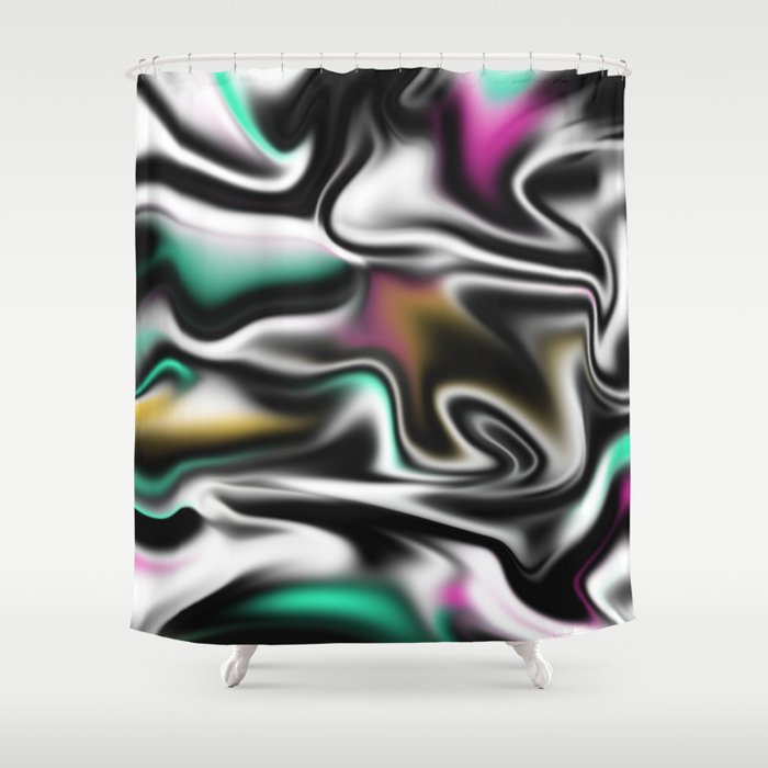 Psychedelic Liquid Abstract Paint In Black White Pink Turquoise Shower Curtain