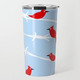 Red Cardinal Birds on Barbed wire Travel Mug