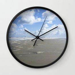 Cloudy seascape panorama Wall Clock