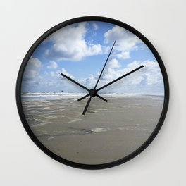 Cloudy seascape panorama Wall Clock