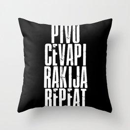 Pivo Cevapi Rakjia Repeat Jugo Srbija Throw Pillow
